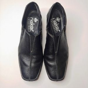 Rieker Heeled Slip-On Leather Loafers